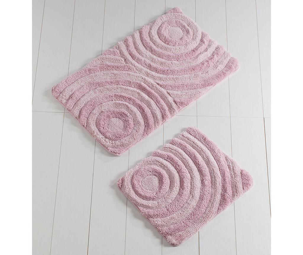 Set 2 covorase de baie Circles Pink