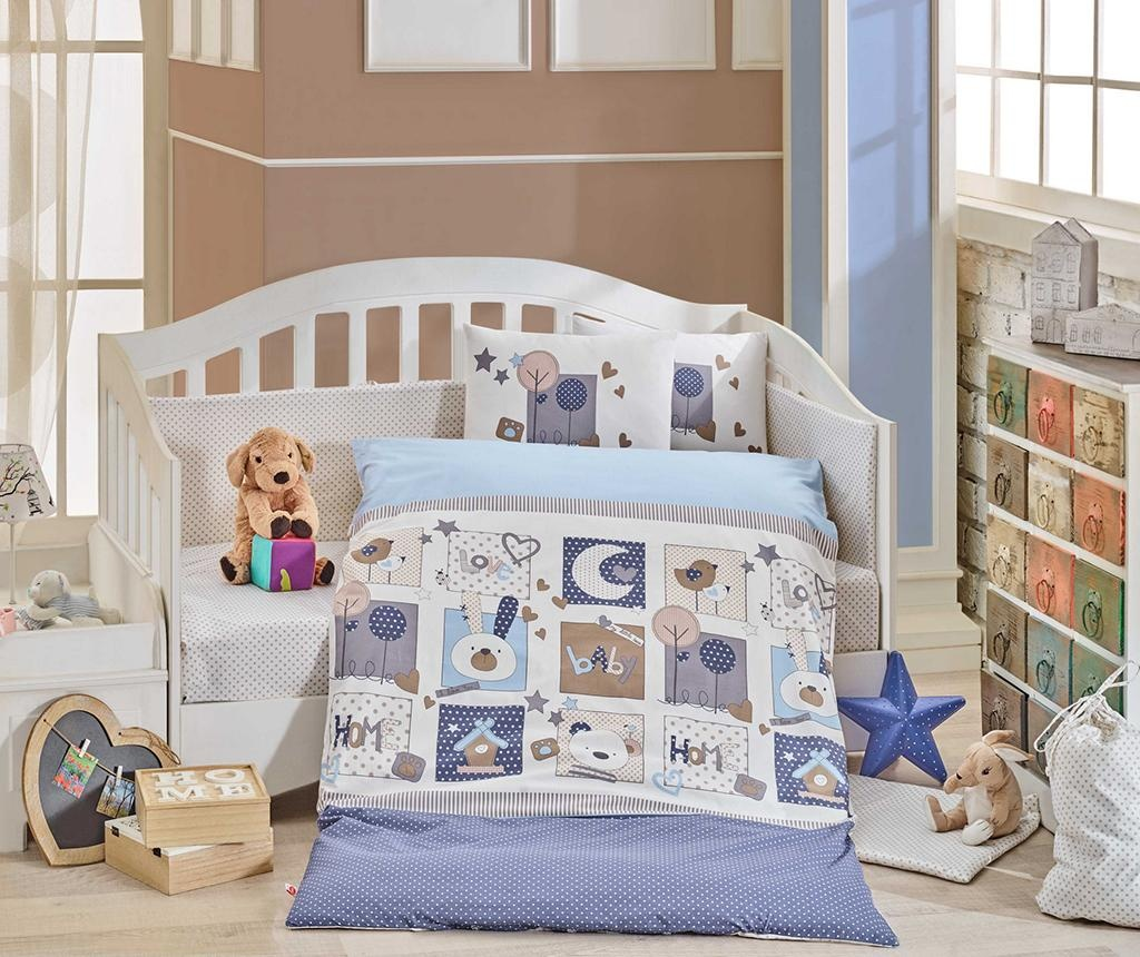 Posteljina za krevetić Poplin Supreme Sweethome Blue