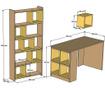 Set birou, corp biblioteca si 10 rafturi modulare Byrd White
