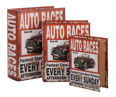 Zestaw 3 pudełek typu książka Auto Races