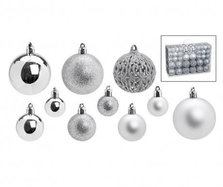 Set 100 globuri decorative Festive Silver