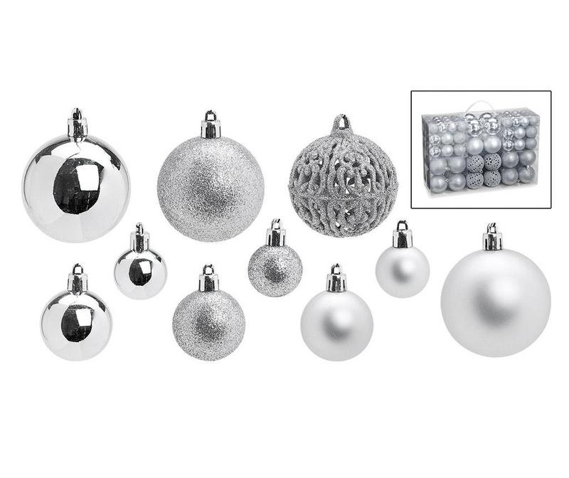 Set 100 globuri decorative Festive Silver