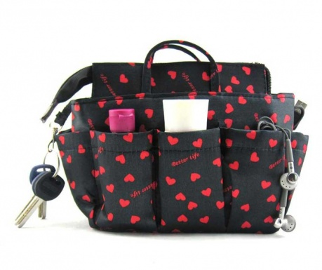 Organizator za v torbo Sash Black Red Hearts