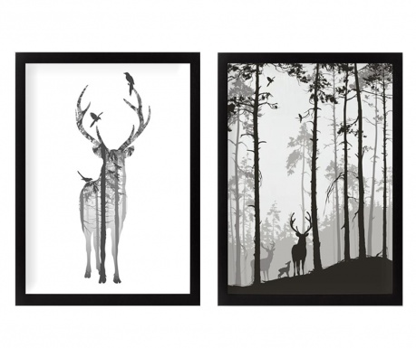 Zestaw 2 obrazów Reindeer in the Woods 34x44 cm