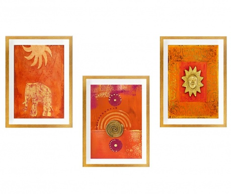 Set 3 tablouri Sun God 24x29 cm