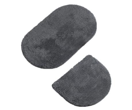 Oval Anthracite 2 db Fürdőszobai szőnyeg
