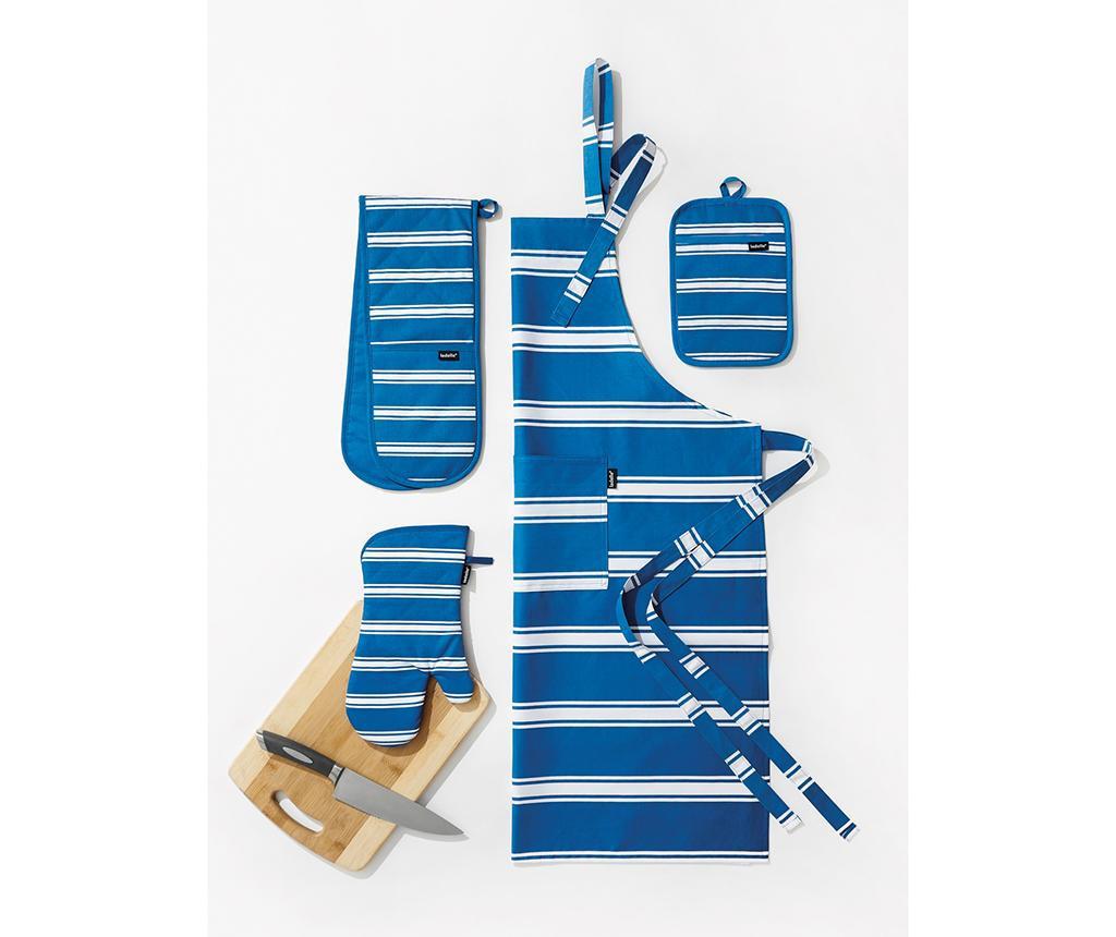 Dvojna kuhinjska rokavica Butcher Stripe Cobalt