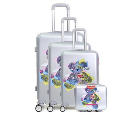 Set 3 kovčkov na kolesih in toaletne torbe Ours Pop Grey