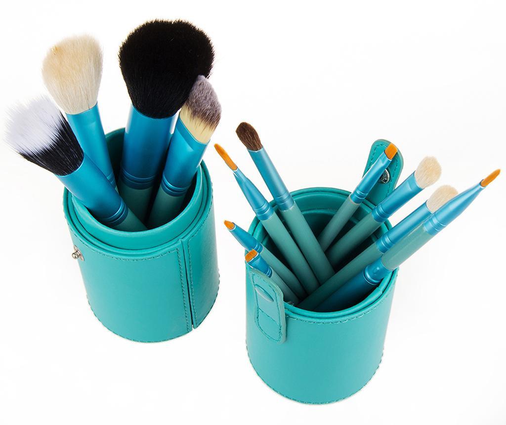 Set 12 čopičev za ličenje in držalo Makeup Lover Turquoise