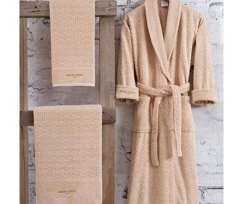 Set kupaonski ogrtač i 2 ručnika Gladis Beige XL