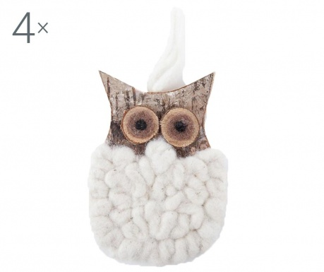 Set 4 decoratiuni suspendabile Puffy Owl