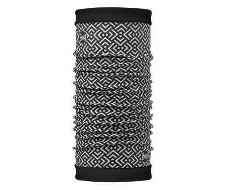 Fular circular reversibil unisex Buff Geometric and Black 24.5x53 cm