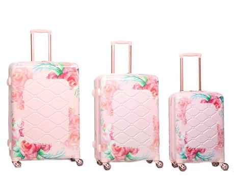 Zestaw 3 walizek na kółkach Varnia Rose Blush