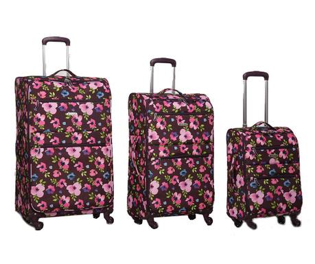 Zestaw 3 walizek na kółkach Floral Purple