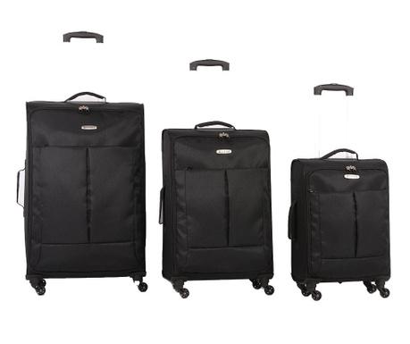 Zestaw 3 walizek na kółkach Ultralight Black