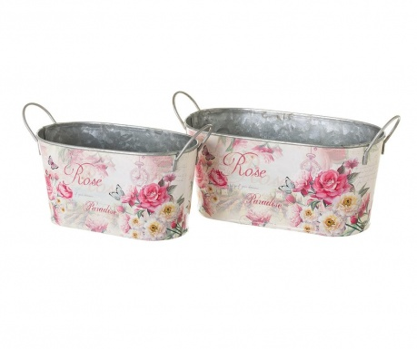 Set 2 jardiniere Rose Flowers