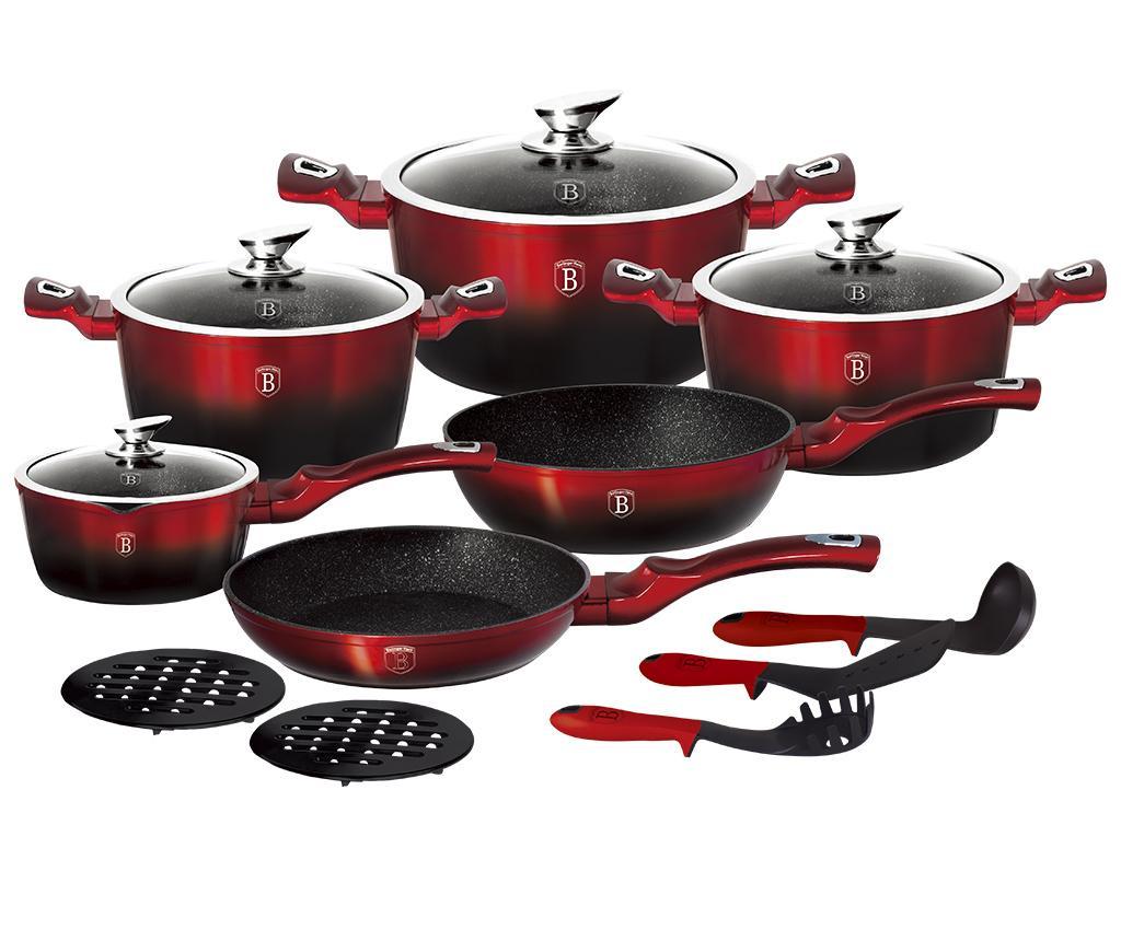 15-delni set posode za kuhanje Metallic Line Burgundy Edition