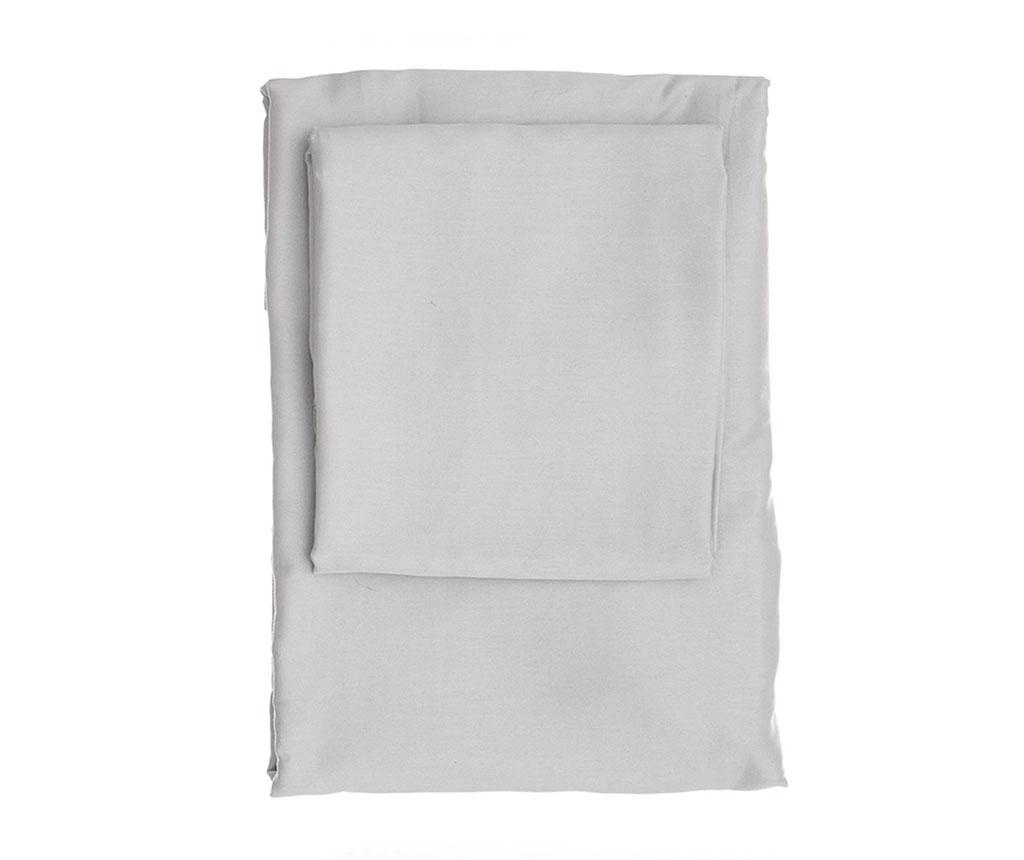 Cearsaf de pat cu elastic Dena Light Grey Satin 180x200 cm