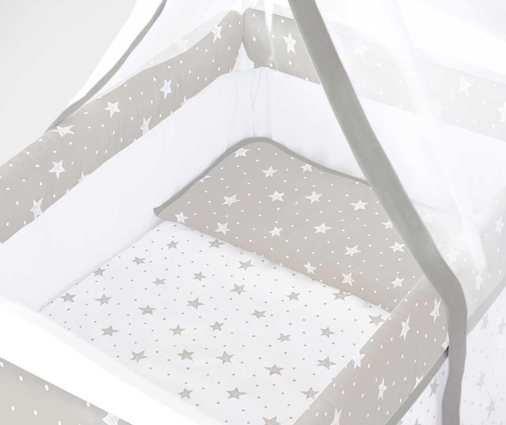 Set krevetić sa baldahinom i dodacima Stars and Dots Square