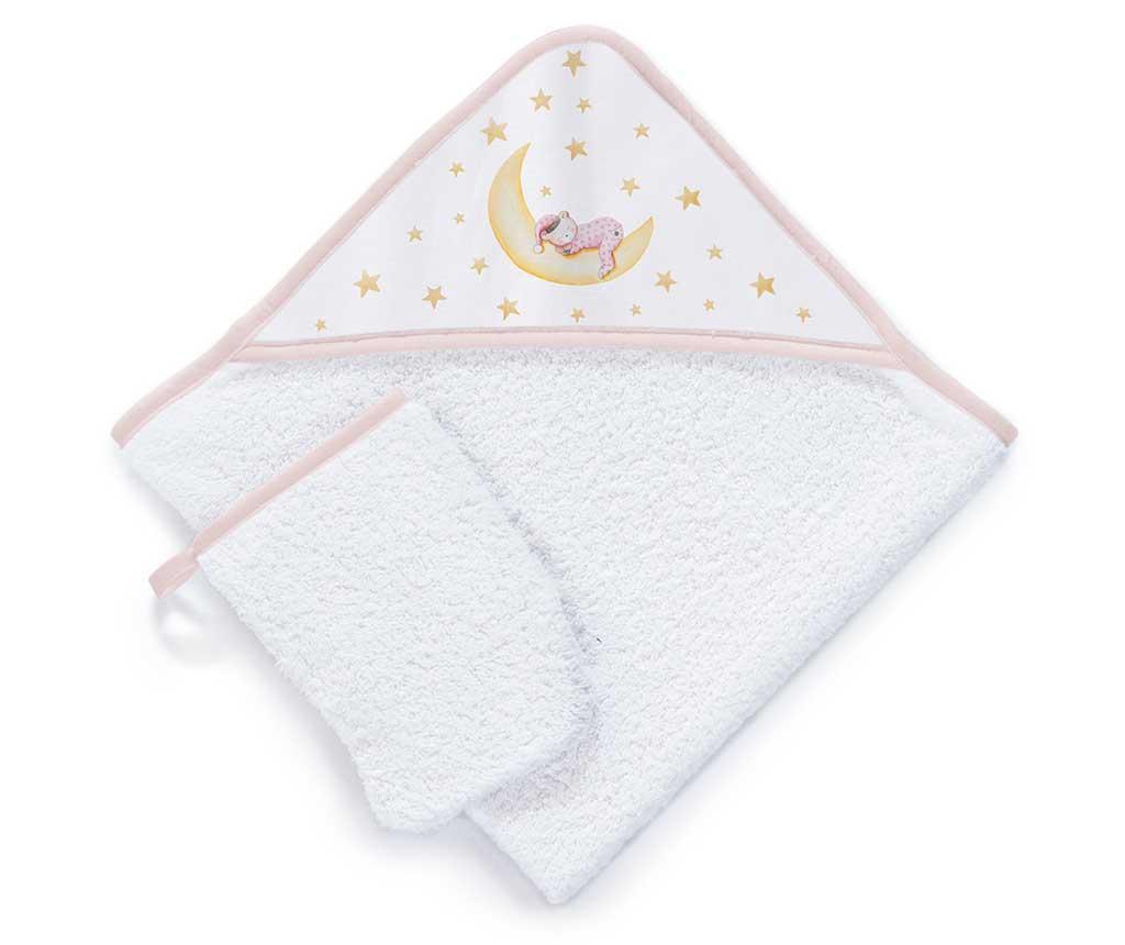 Set ručnik sa kapuljačom i kupaonska rukavica Marlon Night Pink