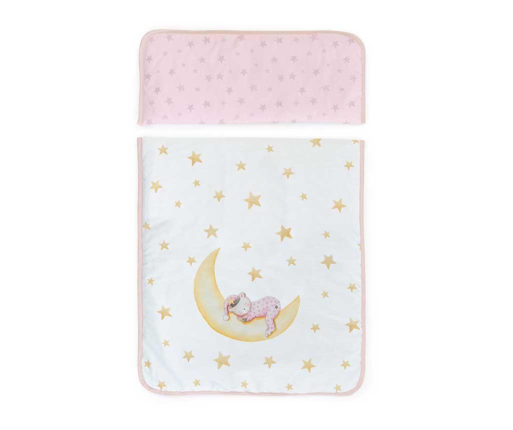 Set - otroška posteljica z baldahinom in dodatki Marlon Night Square Pink