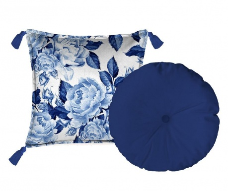 Sada 2 dekoračních polštářů Blue Flowers