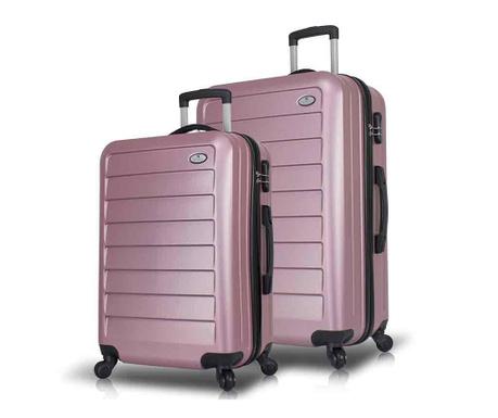 Set 2 kovčkov na kolesih USB Iuki Wide Rose Gold