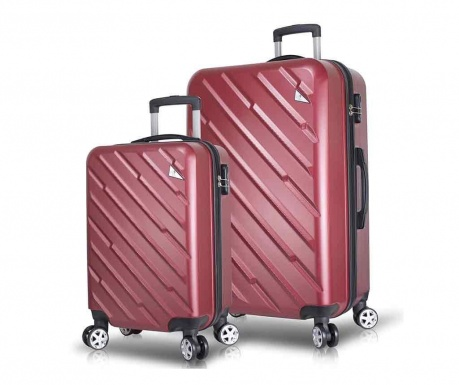 Set 2 kovčkov na kolesih USB Alice Wide Claret Red