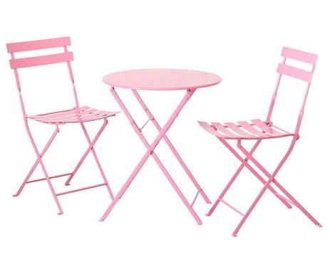Sada venkovní stůl a 2 židle Rico Pink