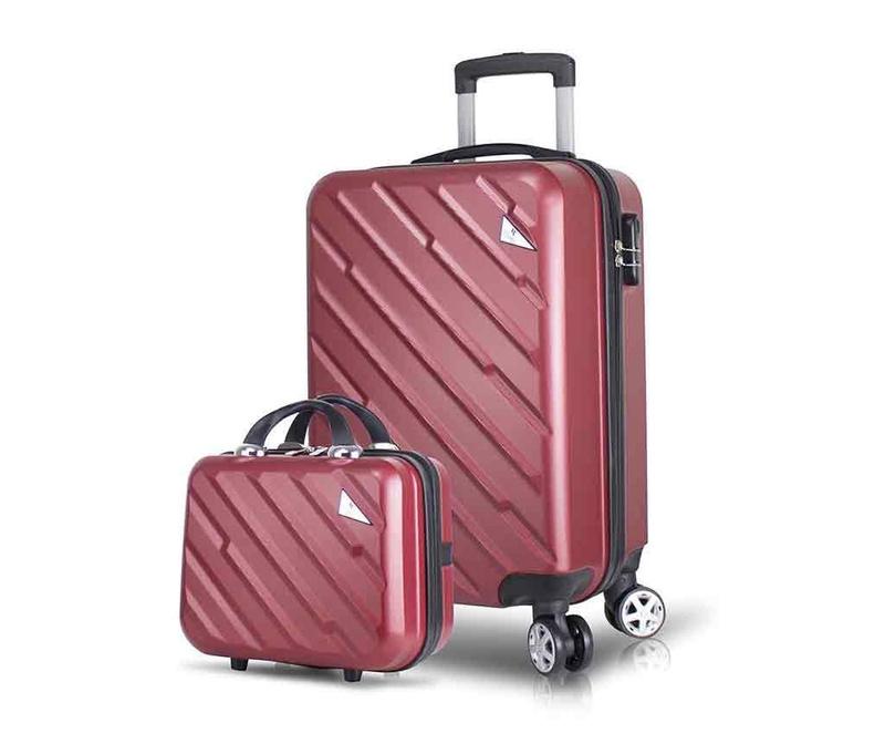 Zestaw walizka na kółkach i kosmetyczka Alice Claret Red