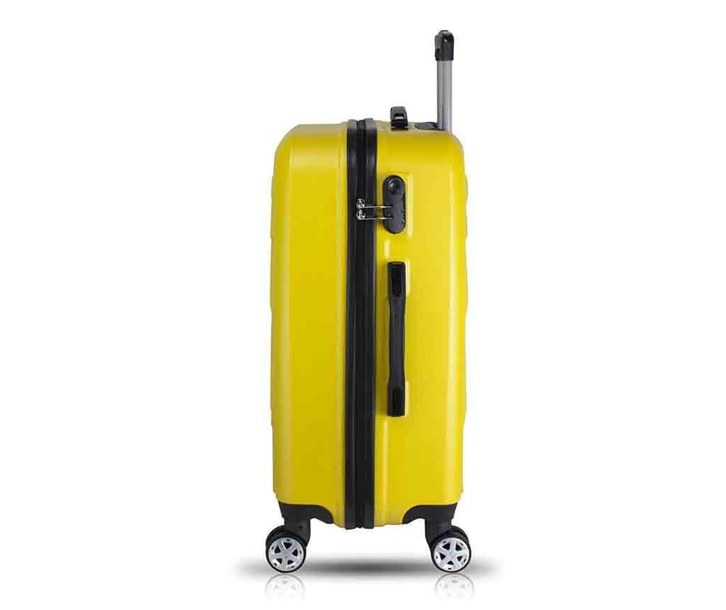 Alice Wide Yellow Gurulós bőrönd és kozmetikai táska