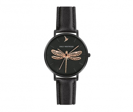 Γυναικείο ρολόι χειρός Emily Westwood Dragonfly Gold Black