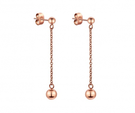 Σκουλαρίκια Chain Bubbled Rose Gold