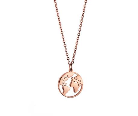 Lančić s privjeskom Globe Rose Gold