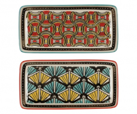 Set 2 platouri African Vibes Red Yellow