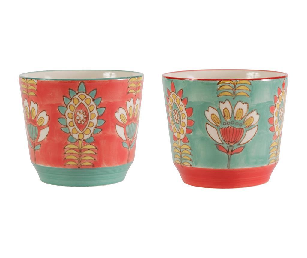 Set 2 zdjele Flora Bohemian Red Blue