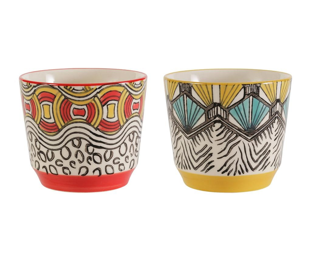 Set 2 zdjele African Vibes High Red Yellow Blue