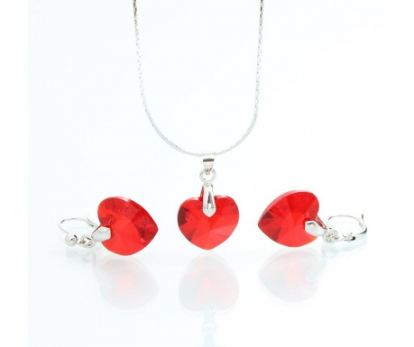 Set cercei si lantisor cu pandantiv Laura Bruni Crystal Heart Red