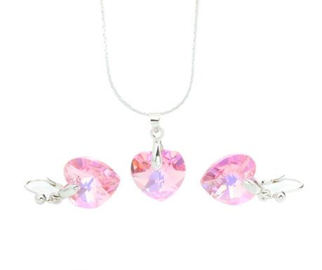Sada náušnice a retiazka s príveskom Laura Bruni Crystal Heart Pink