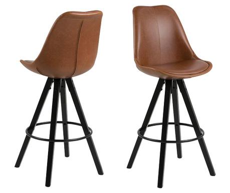 Set 2 barske stolice Dima Leather Brown