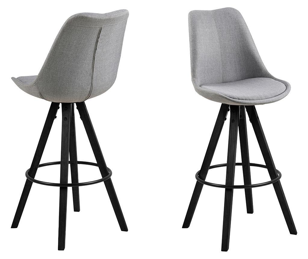 Sada 2 barových židlí Dima Grey Black