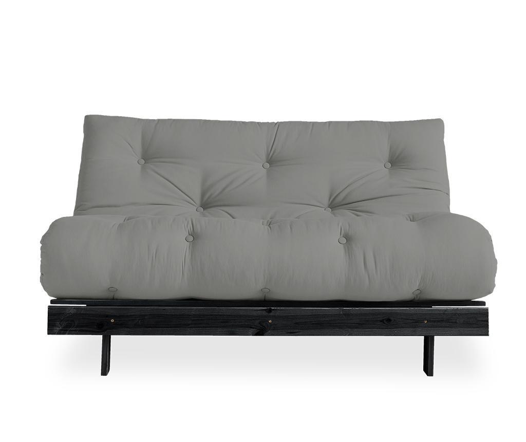Raztegljiva zofa Roots Black & Grey 140x200 cm