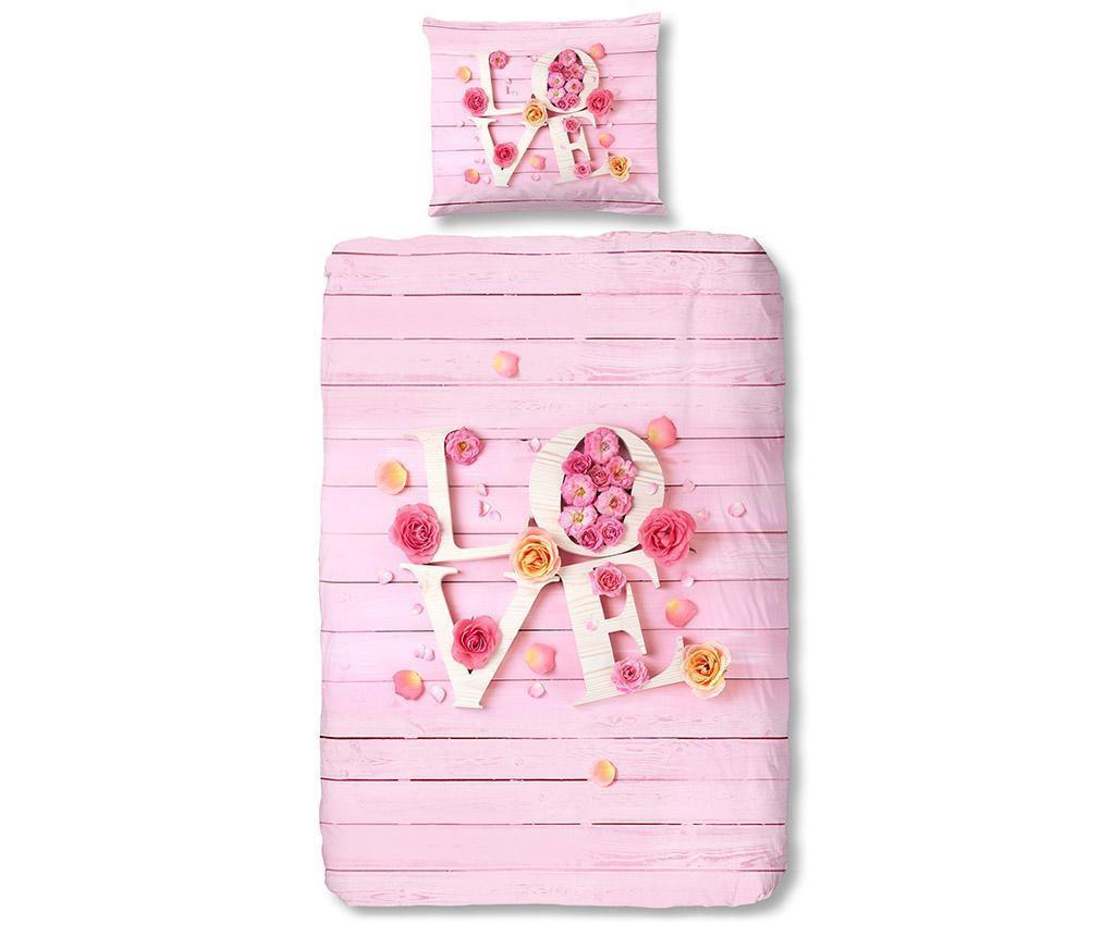 Set de pat Single Ranforce Pink Love