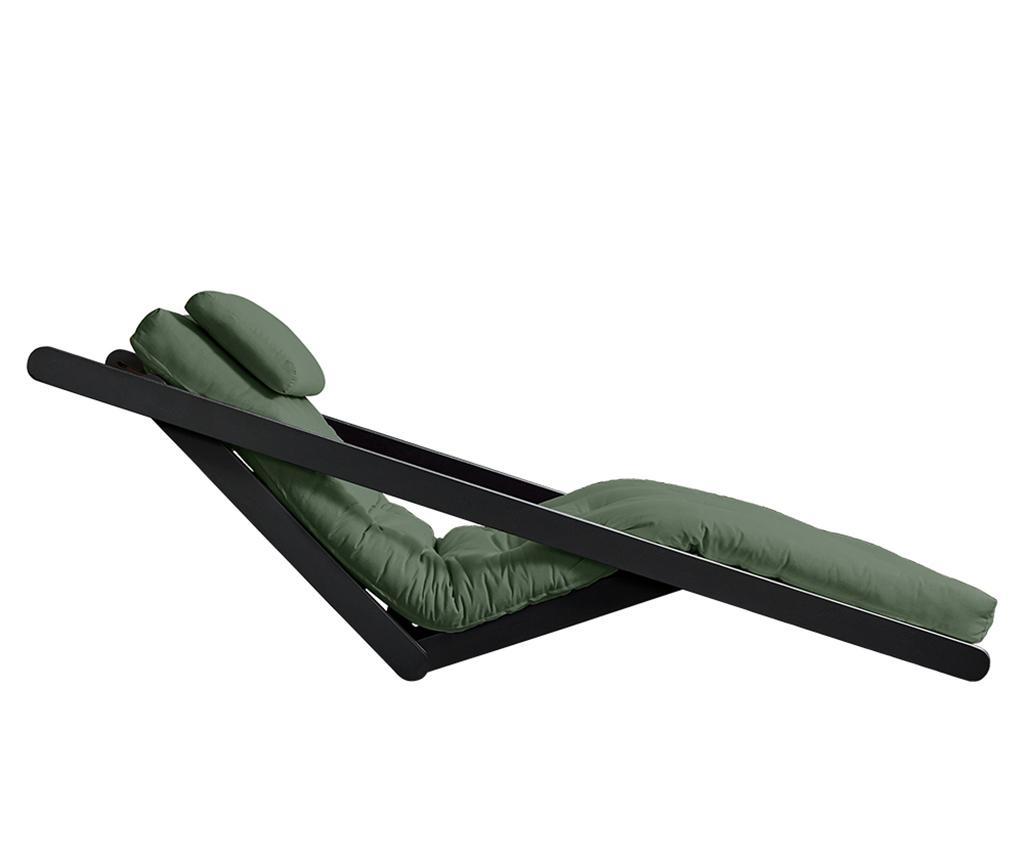 Figo Black & Olive Green Kihúzható nappali heverő 120x200 cm