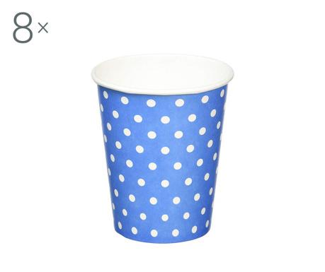 Set 8 kozarcev za enkratno uporabo Carnival Dots Blue