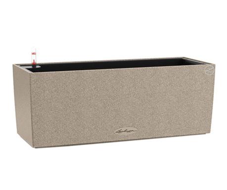 Set - cvetlično korito z avto-namakalnim sistemom in držalom Balconera Stone Sand Beige S