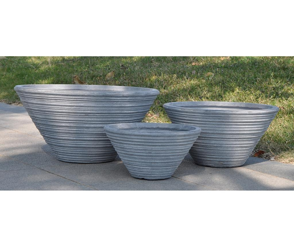 Set 3 držača za posude za cvijeće Stone Grey