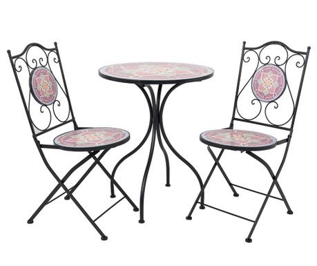 Комплект маса и 2 стола за екстериор Mosaic Petals