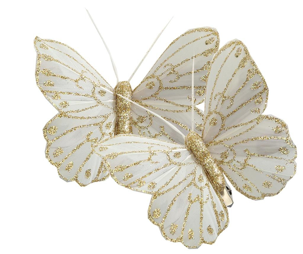 Set 2 decoratiuni cu clips Butterfly Cream