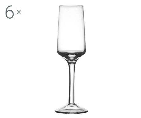 Сервиз 6 чаши за шампанско Glamour Clear 200 мл